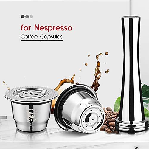 i Cafilas Wiederbefüllbare Nespresso Kaffeekapsel aus Edelstahl zum Nachfüllen - Wiederverwendbare Refill-Kapsel kompatibel mit Nespresso-Maschinen, Tamper+Messlöffel+Pinsel
