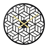 Modern Black Wall Silent Clocks 16' Metal Decorative for Living Room Kitchen Bedroom Office Wall Decor Without Numbers