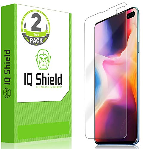 IQ Shield Screen Protector Compatible with Galaxy S10 Plus 6.4 inch (2-Pack)(Max Coverage) Anti-Bubble Clear Film (NOT Compatible with Verizon S10 5G 6.7)