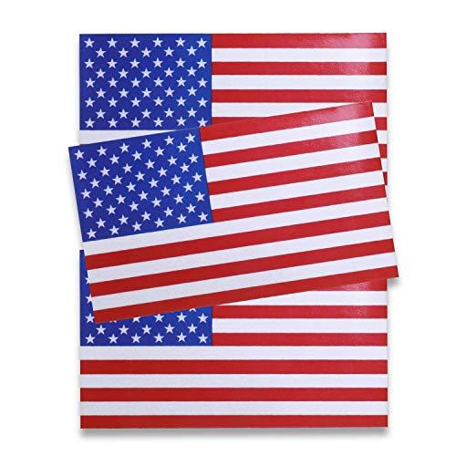 JUSTTOP 5x3' American Flag Patriotic Stars and Reflective Stripes Auto Decal Bumper Sticker(3 PCS)