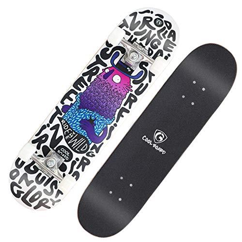 YSCYLY Komplette Skateboards,Double Tilt Flashing Wheel Skateboard 31 * 8 Zoll,Casterboard Streetboard Caster Board