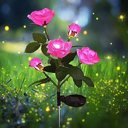 Luces de energía solar para jardín al aire libre, luces solares con 5 rosas de flores, luces decorativas para jardín, césped, patio, camino, decoración impermeable (rosa)