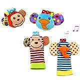 PULABO Babyrassel 4 Stück Baby Handgelenk Rassel Und Fuß Rasseln Finder Socken Set Developmental...