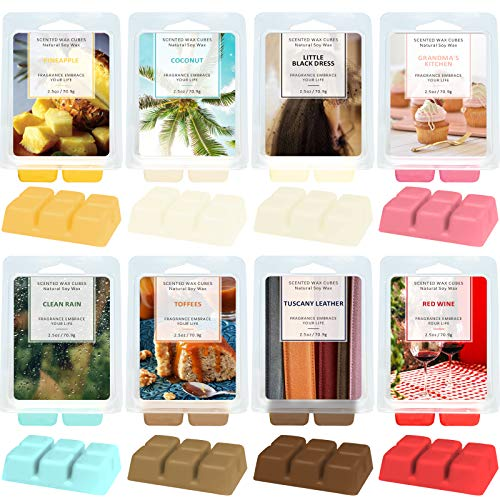 LA BELLEFÉE Soy Wax Melts Wax Tarts, Coconut, Little Black Dress, Red Wine, Pineapple, Grandma's Kitchen, Clean Rain, Toffees, Tuscany Leather, Gift Set for Cubes Warmer, Mother's Day Gift