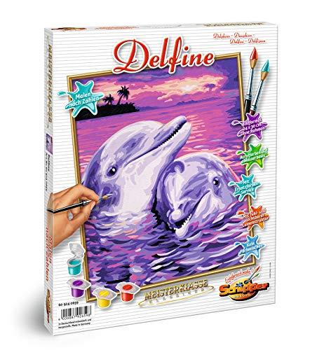 Schipper 609240659 - Malen nach Zahlen - Delfine - Bilder malen für Erwachsene, inklusive Pinsel und Acrylfarben, 24 x 30 cm