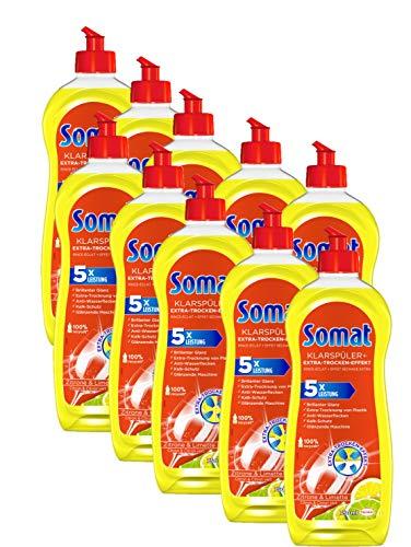 Somat Klarspüler Zitrone 10er Pack mit Extra-Trocken-Effekt(Kl für unschlagbaren Glanz auf Gläsern & Geschirr (10x 750ml)