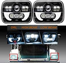 """7x6"""" LED Headlights High Low Beam Amber For International IHC Headlight Assembly 9200/9900 / 9400i - Crystal Clear Sealed Beam Square Headlamp Lights - 2 Pieces Kit"""