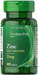 Puritan's Pride Chelated Zinc 25 Mg Gluconate 100 Tablets