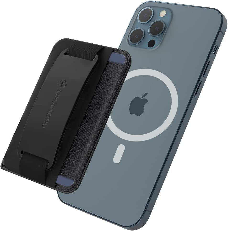 Sinjimoru 3 in 1 Magnetic Wallet as Phone Grip Stand for MagSafe, Cell Phone Wallet Stick On with Cell Phone Kickstand & Phone Grip Holder iPhone 12 Pro & iPhone 13 Series. M-BGrip Black