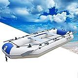 Inflable Barco, Bote Hinchable con Bote + Paletas + Bomba, Capacidad de Carga 441 Kg con 2 Remos de Aluminio, Deportes Acuáticos con Paleta