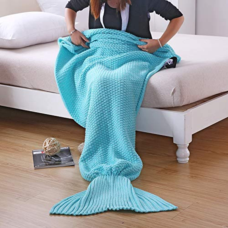 S-Werthy Mermaid blanket air Conditioning blanket Knitted blanket Mermaid Tail Sofa blanket, Sky bluee, 140  60CM (55  23.6 inch)