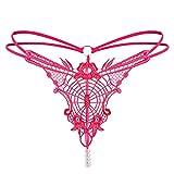 Moda para Mujer Bragas De Encaje Transparente Tangas Bragas De Color SóLido Bragas Negras Bragas Rojas Bragas De Bikini Talla úNica