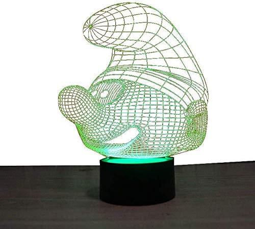 7 Farbwechsel/USB / 3D-Illusionslampe/Touch Control für KidsCute Gift Night Light // Neben Tischlampe/Basketball-Musikinstrument-Die Schlümpfe