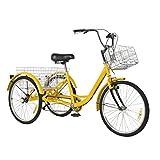 Triciclo per Adulti Triciclo con Cestino 24 Pollici Triciclo per Acquisti Confortevole a 7 Velocità Bicicletta per Adulti Bicicletta a Tre Ruote Sport all'aria Aperta Tricycle Trike (giallo)