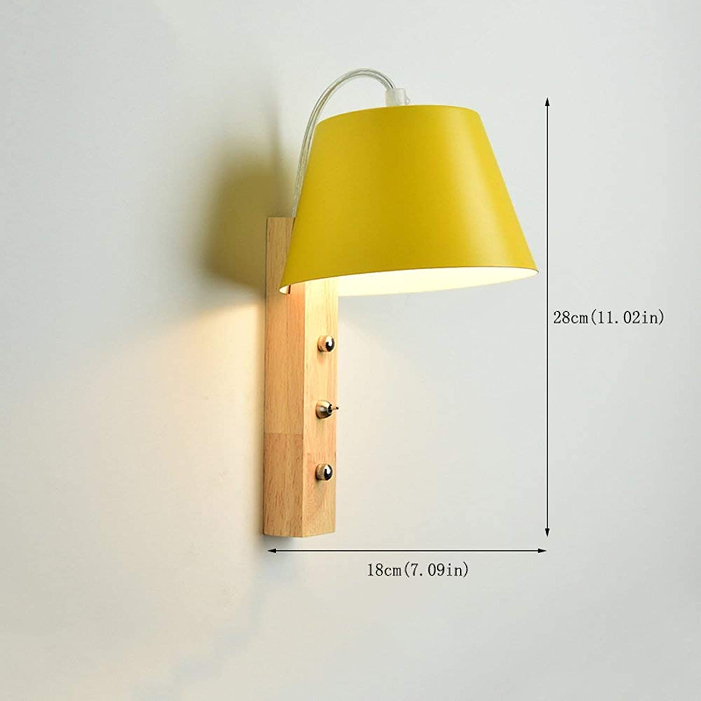 Xiao Fan   Moderne Wandleuchte aus Holz lackiert Metall Schatten Wandleuchte Lampe Schlafzimmer Massivholz Wand Gang Wandleuchte Wandlampen E27 Wand Montiert Sicherheitsleuchten (Farbe  Gelb)