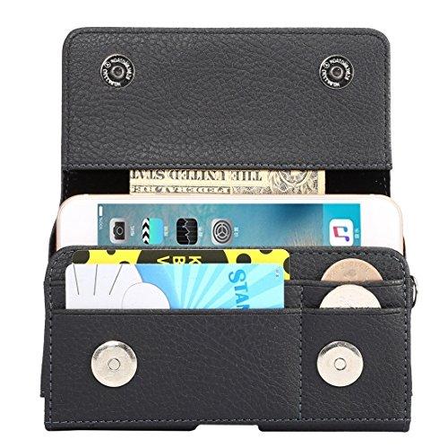 Accesorios para teléfonos móviles Universal Litchi Texture VERTICAL FLIP THWARTWISE PU Funda de cuero / Bolso de la cintura con tragamonedas Back Splint & Tarjetas y Lanyard 15cm para iPhone 7 y 6 y 6