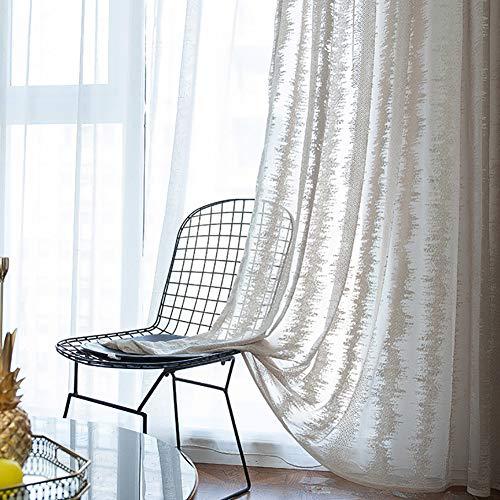 HM&DX Jacquard Schattierung Voile Gardinen ösen,schönheit Voile Vorhänge 1 Panel,dekorative Tüll-vorhänge Wohnzimmer Schlafzimmer Balkon Khaki 200x270cm(79x106in)