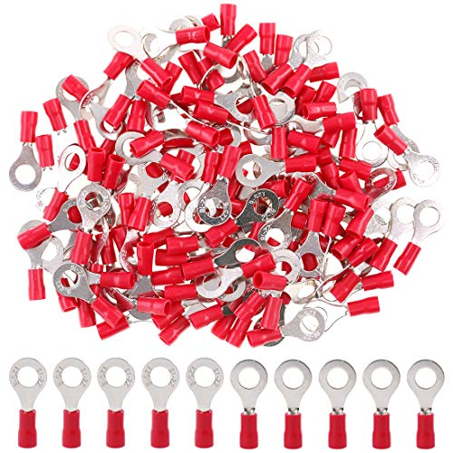 Hilitchi 100Pcs 22-16 Gauge Insulated Ring Terminals Electrical Wire Crimp Connectors (M6, Red)