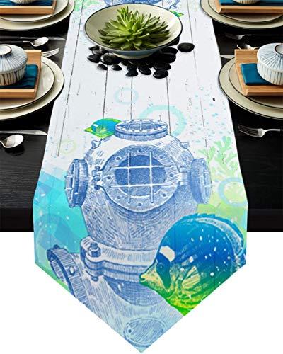 COMMER Camino de mesa, diseño de peces de coral para buceo en el océano, decoración de mesa para bodas, ceremonias de graduación/banquete (33 x 228 cm)