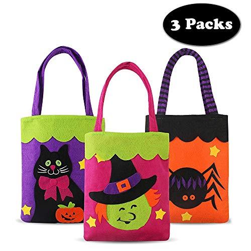 TBSDQLTEV 3 Pack Trick or Treat Taschen, Halloween Gefälligkeiten Taschen, Non-Woven und Wiederverwendbare Candy Eimer mit 3 Verschiedenen Prints