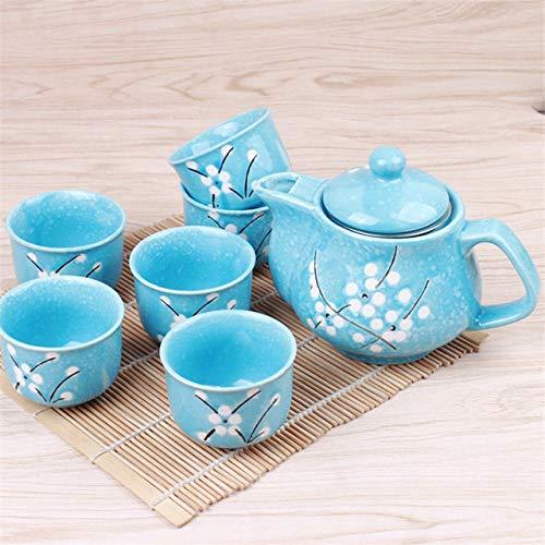 LJQLXJ Juego de té Juego de teteras de flor de cerezo, 1 maceta, 6 tazas, vajilla de cerámica, tetera, juego de té para oficina en casa, hervidor, envío directo, 1 maceta, 6 tazas