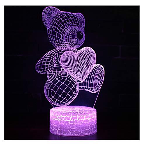 Lumière de nuit 3D-7 couleur petite lampe de table-USB ceinture télécommande-Love Bear sculpture, éclairage multiple garçon et fille lumières de chevet