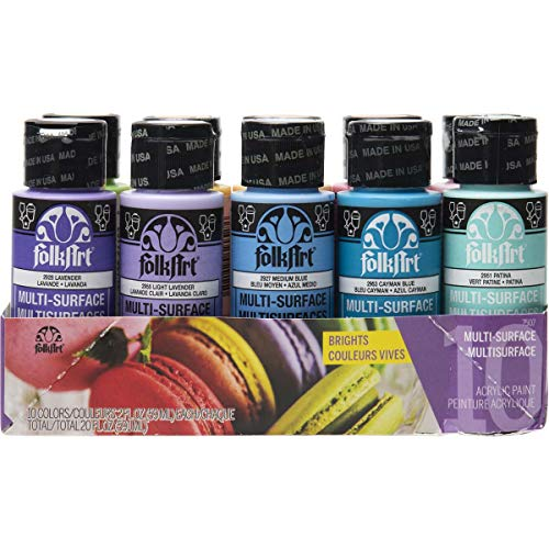 FolkArt Color, 10 Bottle Multi-Surface Acrylic Paint Set, 2oz, Brights