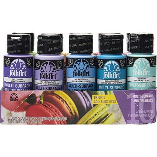 FolkArt Color, 10 Bottle Multi-Surface Acrylic Paint Set,...