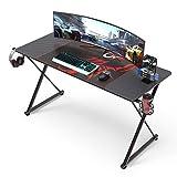 EUREKA ERGONOMIC Computer Gaming desk For Home Office Black Large Desk Gifts For Sons 140 * 60 cm BLACK