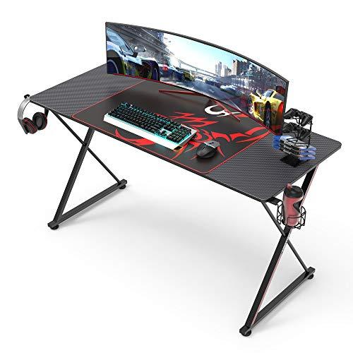 EUREKA ERGONOMIC Escritorio para juegos X55 Mesa de juegos en forma de X Escritorio para computadora con soporte para ratón y soporte para taza de auriculares para oficina en el hogar140 x 60 cm negro