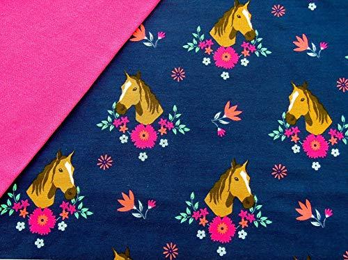 0,5x1,4m Jersey Pferde dunkelblau mit Blumen & 0,5x0,7m Bündchen Uni pink Breite 70cm (Schlauchware 2x35cm) Muster-Mix 95% Baumwolle 5% Elastan
