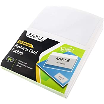 """Juvale 100-Pack Business Cards Clear Adhesive Pockets, Top Load Holds 3.5"""" X 2"""" Card, Plastic Sleeves Cardholder for Classroom, Projects, Presentations, Office"""