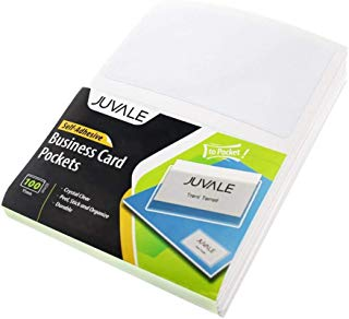 Juvale Business Card Plastic Sleeves - Self Adhesive Poly Pockets Peel and Stick Business Card Holders - Top Load Card Holders - 100 Pack
