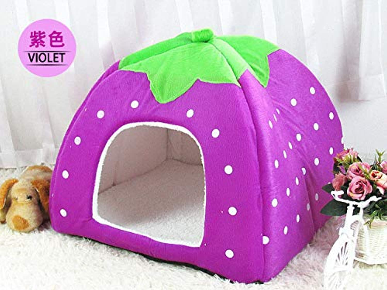 FidgetGear Soft Pet Dog Cat Strawberry Bed Durable House Kennel Doggy Puppy Cushion Basket Purple XXL