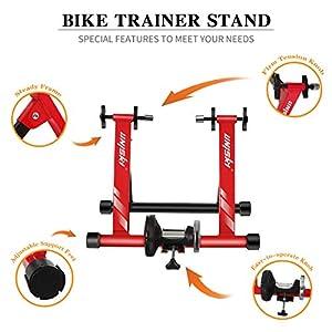 """Unisky Rodillo Bicicleta Magnético de Ciclismo Rodillo Entrenamiento Bicicleta a 6 Velocidades para Ruedas de 26""""-28"""" o 700C, Plegable y Silencioso Bike Trainer para Ejercicios Ciclismo en Casa, Rojo"""