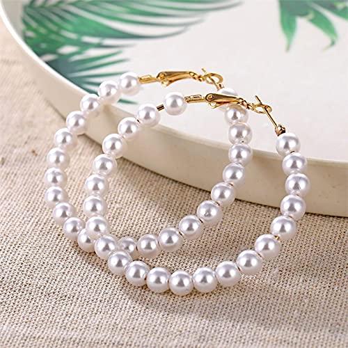 FEARRIN Pendientes de aro de Perlas Blancas Elegantes de Oro Retro Vintage para Mujer, Anillos de Oreja de círculo de Perlas de Gran tamaño, Pendientes, joyería llamativa