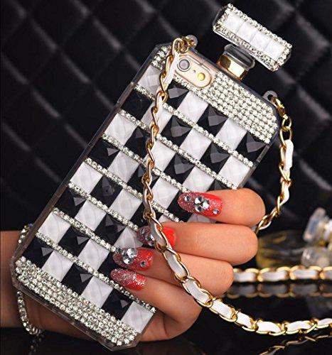 Losin Perfume Case Compatible with Apple iPhone 6 / iPhone 6S 4.7 Inch Case Thin Fashion Handmade Bling Diamond Gemstone Perfume Bottle Rhinestone Soft TPU + Hard PC Back Case with Lanyard