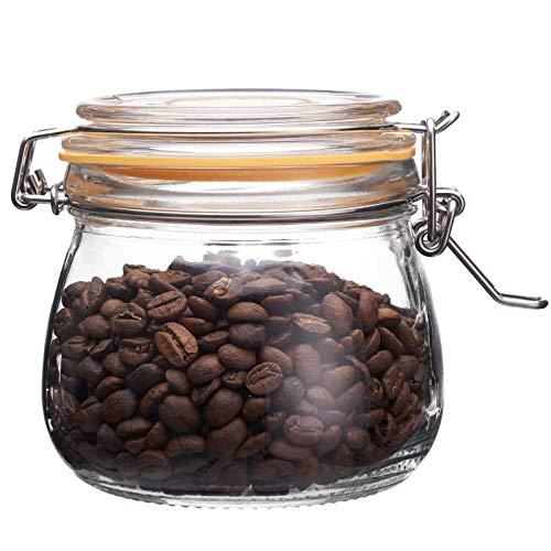 The Happy Jar - Tarro de cristal con tapa de clip y tarros de cristal herméticos de 500 ml para especias, azúcar, café, especias, avena, comida para mascotas (500 ml amarillo)