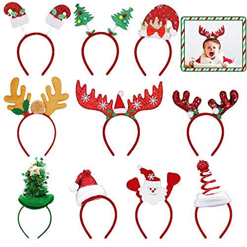 ATDAWN 10 Pack Christmas Headbands, Reindeer Antler Santa Hat Headbands for Christmas Holiday Parties
