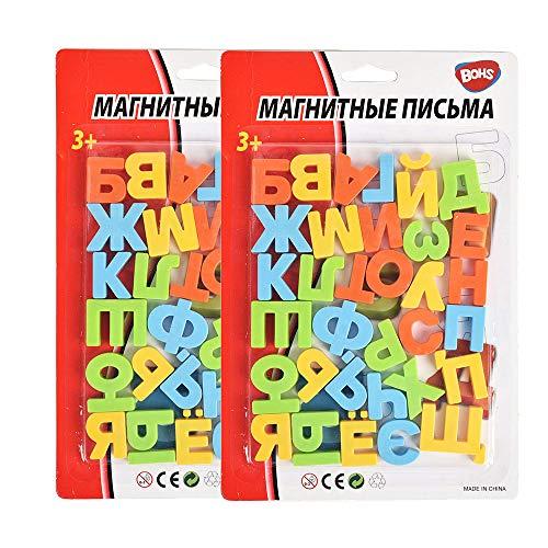 BOHS Letras del Alfabeto magnético Ruso , Juguete Educativo de Aprendizaje para niños, imanes de Nevera para decoración del hogar, Tablero de Mensajes, para Letras repetidas