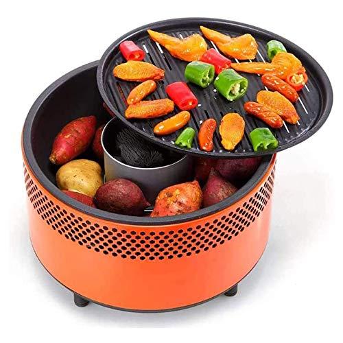 TYUIOO Tragbarer Grill mit Lüfter for schnelle Wärme im Freien Innentisch Kleine Holzkohle-Grill Non Stick Round BBQ Grill for Camping Picknick-Party (orange)