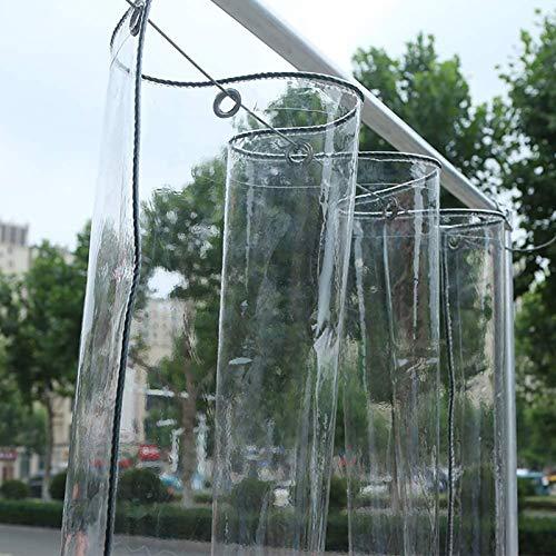 YYDE Plane, klare Plane, transparente wasserdichte Plane mit Knopfloch, 0,3 mm Polyethylenplane, Regenvorhang für Sonnenzimmer/Fenster/Balkon,2Mx4M