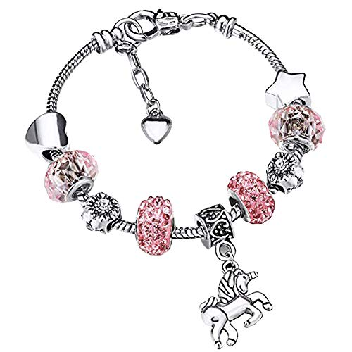 INTVN Leather Unicorn Sparkly Pink Crystal Charm Bracelet Bangle with Gift Box Set for Girl Lady