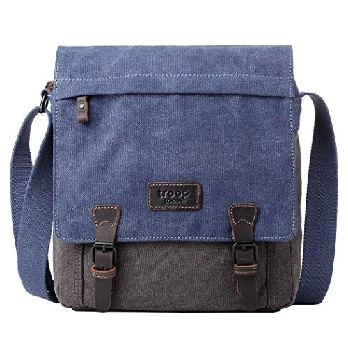 TRP0465 Troop London Heritage Waxed Canvas Messenger Bag, Smart Travel Bag