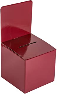 MCB - Medium Cardboard Box - Ballot Box - Suggestion Box - Raffle Box - Ticket Box - with Removable Header for Tabletop Use (10 Pack, Red)