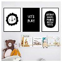 保育園プリント画像アルファベットキャンバスポスターミニマリスト絵画壁アート子供部屋の装飾40x60cm(15.7''x23.6 '')×3