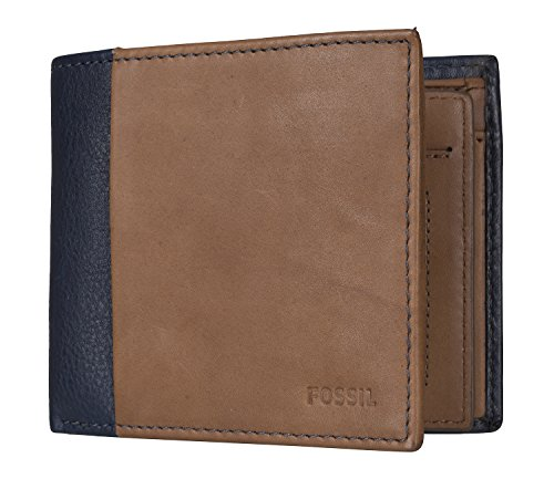 FOSSIL Ward Large Coin Pocket Bifold Navy / Cognac