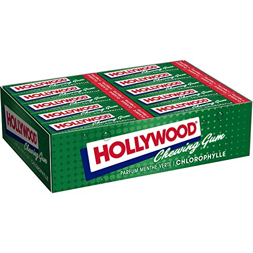 Hollywood- Chewing-gum parfum Chlorophylle - Présentoir de 20 paquets de 11 tablettes