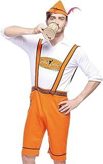 Snakell Karneval kostüm Halloween kostüm Cosplay Cosplay kostüme faschingskostüme Oktoberfest Kostüm perücke Dirndl weihnachtskostüm 3PC Männer Gurt Kurze Hose Hut Bayerisch Bardame Dirndl