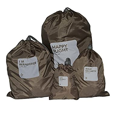 3 JOKERS 4 pieces Waterproof Travel Drawstring Bag Shoe Laundry Underwear Makeup Storage Pouch £¬Ditty Bag /Shoes Bag for Travel Home Outdoor Hiking Camping (brown)